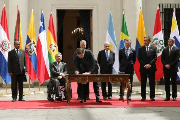 Ato de criação do Prosul, em Santiago, no Chile. Foto: Marcos Corrêa/PR