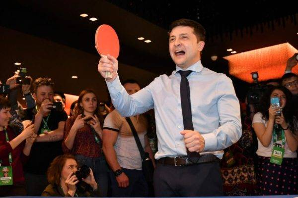 O ator, comediante e candidato presidencial Volodymyr Zelensky, 31 de março. Foto: Genya Savilov / AFP