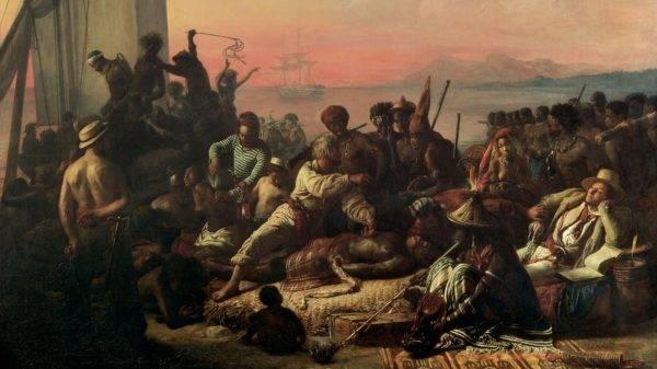 """""""O mercado de escravos"""", de Auguste François Biard. Imagem: Reprodução"""